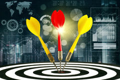 Three darts and financial graph. Three darts hitting the bullseye on the dartboard, shot with financial statistics background. Concept of stock market target and royalty free stock images