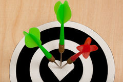 Three darts hit the target Royalty Free Stock Photography