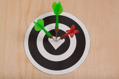 Three darts hit the target Stock Images