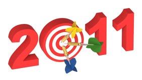 Three darts hitting target - New Year 2011. Computer generated 3D photo rendering Royalty Free Stock Photos