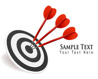 Three darts hitting a target. Success concept. Royalty Free Stock Photo