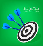 Three darts hitting a target. Success concept. Stock Photos