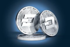 Three Dash concept physical coins displayed on gently lit dark blue background. 3D rendering. New virtual money royalty free illustration