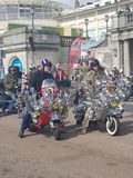 Ace Cafe Reunion`s 25th anniversary Burn Up. A three day motorcycling event held each year and 2018 being the 25th anniversary. Motorcyclists from across the UK royalty free stock image