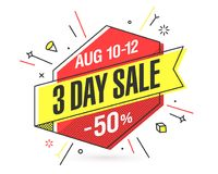 Three Day Sale banner Royalty Free Stock Images