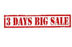Three days big sale. Rubber stamp with text three days big sale inside,  illustration Royalty Free Stock Images
