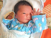Three Days Infant. An infant which has just borned for three days Stock Photos