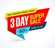 Three days super sale special offer banner Stock Photo