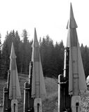 Three deadly missiles with nuclear warhead poised to launch 2 Royalty Free Stock Photo