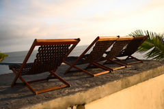 Three deck chair chairs Royalty Free Stock Image