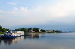 Three-deck cruise ship Princess Annabella on river quay in Uglich Stock Photos