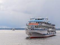 Three-deck passenger ship on the Volga river Royalty Free Stock Photos