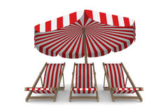 Three deckchair and parasol on white background. 3D image vector illustration