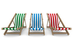 Three deckchair on white background Royalty Free Stock Photography