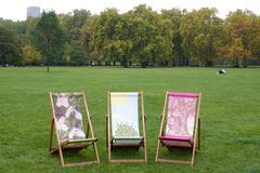Three Deckchairs Royalty Free Stock Photography
