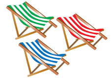 Three deckchairs Royalty Free Stock Images