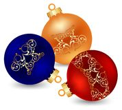 Three decorated christmas ball. On white background royalty free illustration