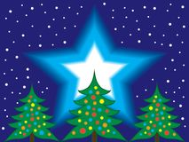 Christmas Trees and Starry Night Sky royalty free illustration