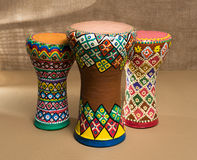 Three decorated colorful pottery goblet drums chalice drum, tarabuka, darbuka Royalty Free Stock Images