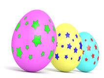 Easter Eggs. Three decorated eggs isolated on white background. Computer generated image with multiple clipping paths Stock Photo