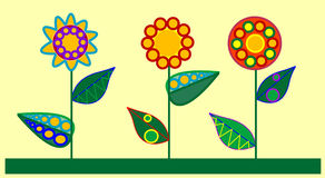 Three decorativ flowers. Multi colored flowers in the white background Stock Photos