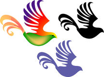 Three decorative Birds. A vector illustration of three decorative birds, one is colored with red and purple wings and golden yellow and orange tail feathers, the Royalty Free Stock Images