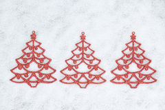 Three decorative Christmas tree closeup. Stock Photography