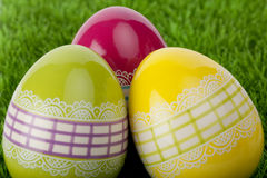 Three decorative Easter eggs, close up Royalty Free Stock Photo