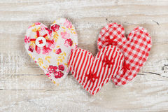 Three decorative fabric heart for Valentines day Stock Photo
