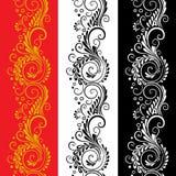 Three decorative flower seamless patterns Royalty Free Stock Photo