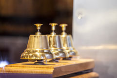 Three decorative golden bells Royalty Free Stock Photo