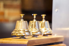 Three decorative golden bells Stock Photo