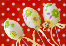 Three decorative painted easter eggs Stock Photos