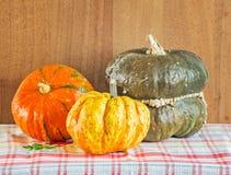 Three decorative pumpkins on the checkered napkin Stock Photo