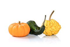 Three decorative pumpkins Stock Photos