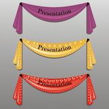 Three decorative ribbons. With stars and heart shapes stock illustration