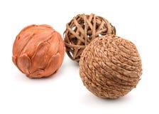 Three decorative wicker balls Stock Photo