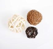 Three decorative wicker wooden balls Stock Photography