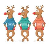 Three deer dance. Postcard Merry Christmas. Stock Photos