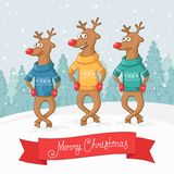 Three deer dance. Winter forest landscape. Postcard Merry Christmas. Stock Photography