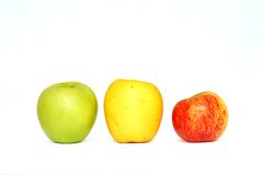 Three delicious apples stock image