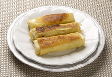 Three Delicious Cheese Blintzes Stock Photo