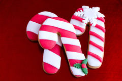 Three delicious christmas cane cookies Royalty Free Stock Image