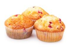 Three delicious cupcakes closeup Stock Photos