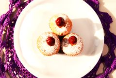 Still life with three delicious cupcakes. Three delicious fresh cupcakes with cherries and powdered sugar on a white plate, close-up Royalty Free Stock Photo