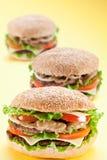 Three delicious hamburger Stock Photos