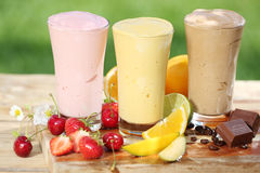 Three delicious smoothies with yoghurt Royalty Free Stock Photos