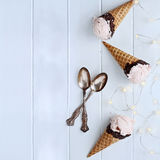 Three Delicious Strawberry Ice Cream Cones Stock Photos