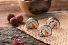 Three delicious vegan sushi rolls, horizontal stock photography