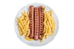 Sausage and fries Stock Photography